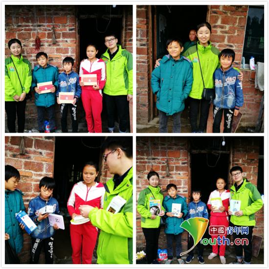 图为武汉理工大学研支团志愿者为三姐弟发放助学金、书籍和生活用品。周龙 供图