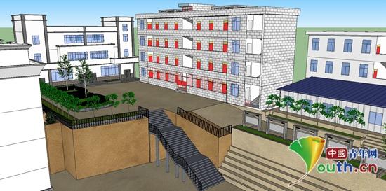 图为同济大学研支团成员文照涵为长新中学绘制的新教学楼效果图.
