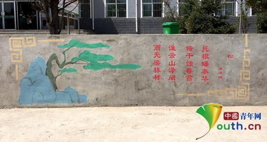 北航研支团彩绘文化墙着力美化校园环境_大学生志愿