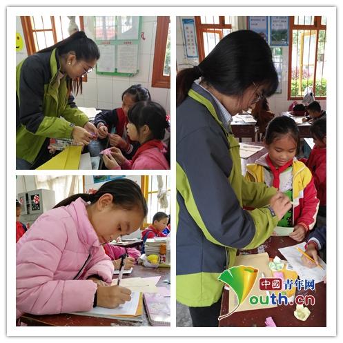 图为澳门葡亰娱乐场手机版研支团志愿者带领学生以书信、折纸的形式表达感恩之情。