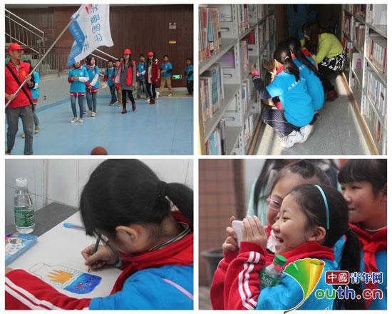哈尔滨工业大学支教团队员带领南溪区留守儿童代表参观宜宾市宜宾学院。