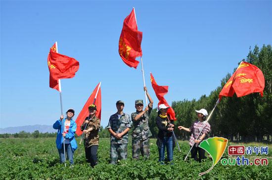 2013届西部计划志愿者参加义务除草活动。