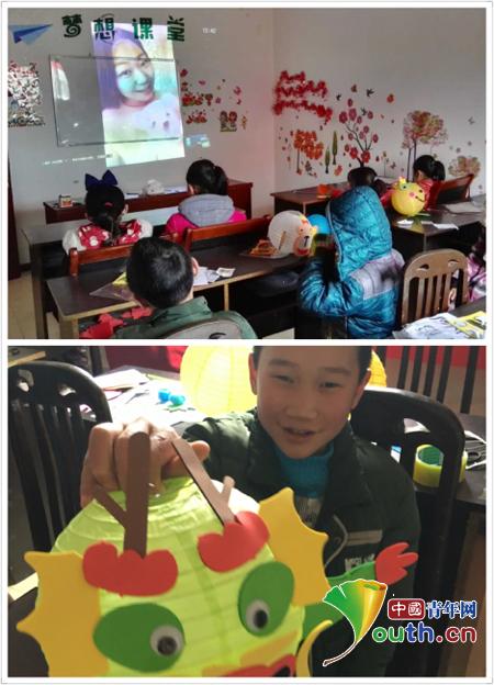 图为黑龙江大学支教团成员与学生视频连线送祝福,学生diy灯笼创意作品